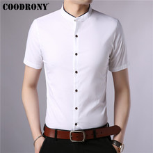 COODRONY Cotton Short Sleeve Men Shirt Summer Cool Chinese Style Mandarin Collar Business Casual Shirts Camisa S96017