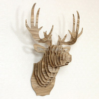 J&E big deer head wall decor nice gift craft for wall decoration self build puzzle