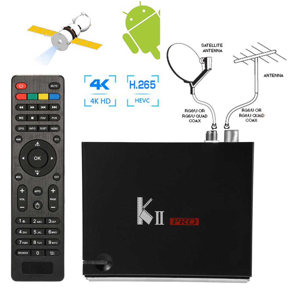 UHD 4K H.265 2GB RAM Android 5.1 DVB-T2 DVB-S2 Satellite TV Receiver Combo KODI 5G Wifi Bluetooth 4.0 Digital cccam Newcam PRO de it es channels dvb s s2 satellite fta lines 1 year cccam clines newcamd usb wifi satellite tv receiver for free shipping