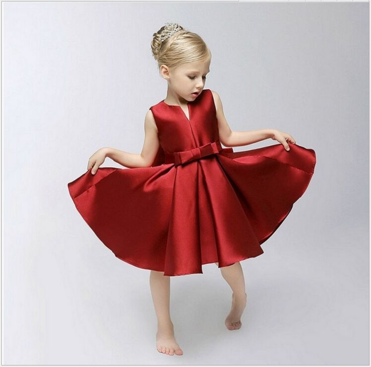 New Collection Unique Small V-neck Bowknot Satin Princess   Flower     Girl     Dress  /Performance   Dress  /  Girl   Party   Dress   925