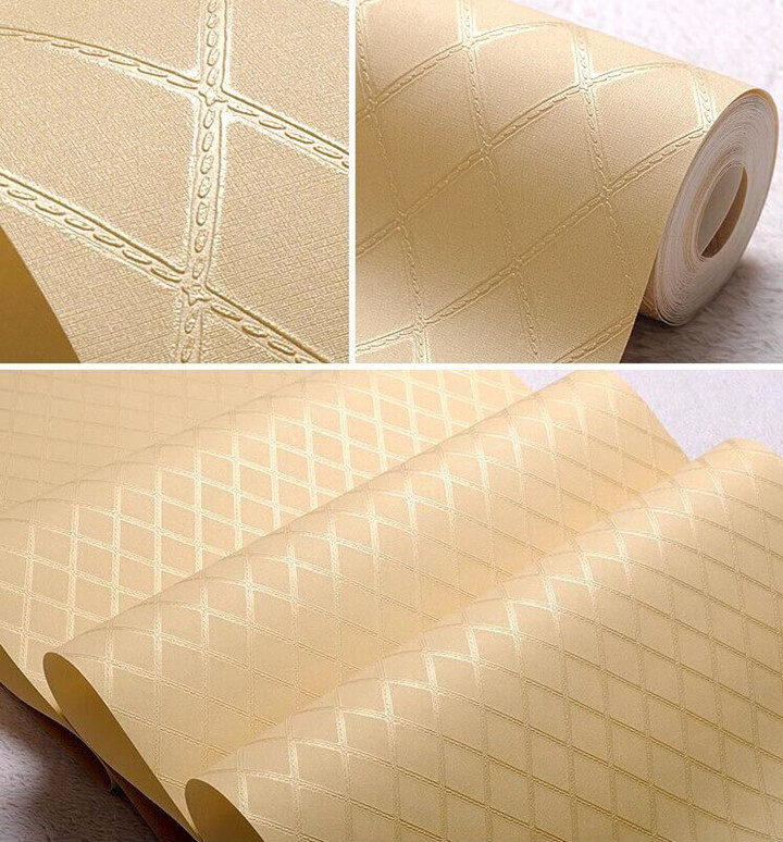 Solid wall decor vinyl wallpaper rolls white gold for Solid vinyl wallcovering
