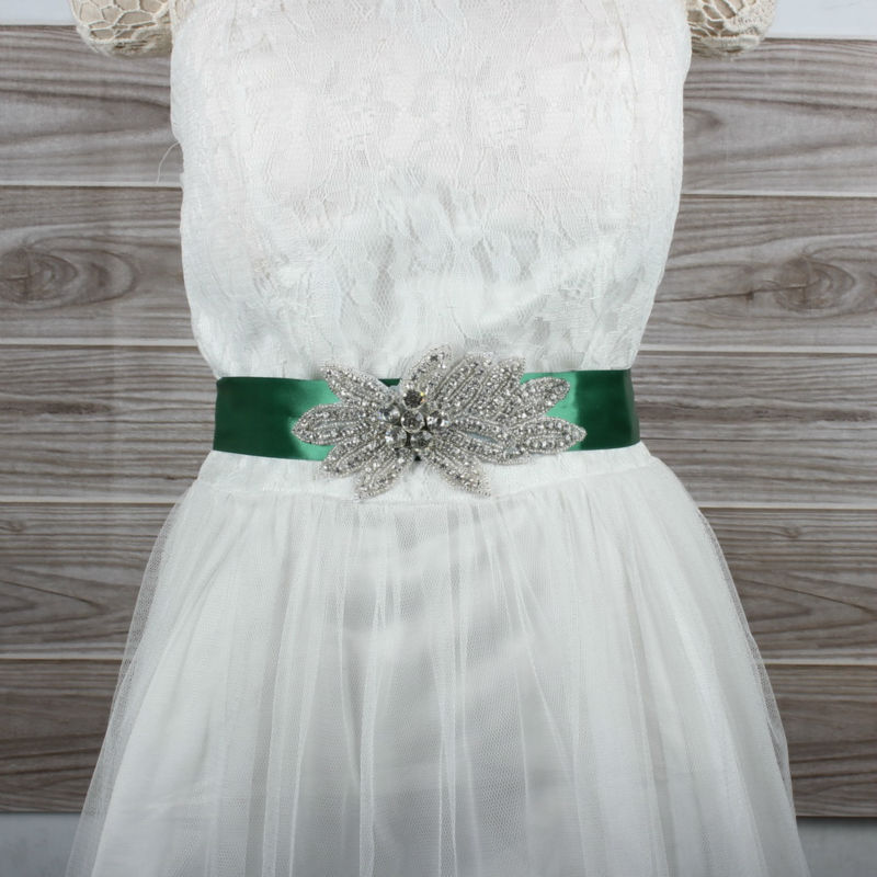 Green Ribbon Rhinestones Applique Wedding Dress Sash Evening Dress Belt With 400cm Length Ribbon 14 Colors With Rhinestones