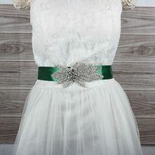 Green Ribbon Rhinestones Applique Wedding Dress Sash Evening Dress Belt with 400cm Length Ribbon 14 colours With Rhinestones