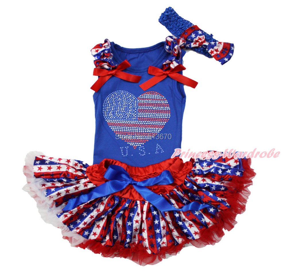 4th July Rhinestone USA Heart Blue Top Star Stripe Newborn Baby Skirt   With a  Clip & Headband 3-12M NG1260 fxcnc 3d aluminum foldable motorcycle brake lever clutch lever for yamaha mt03 2006 2011 2007 2008 2009 moto brake clutch levers