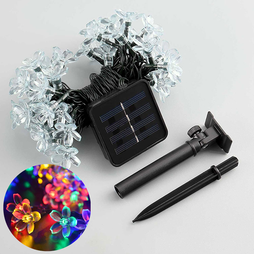 Christmas decoration light solar flower lamp with solar panel 50leds 7m solar garden lamp for wedding home garden party