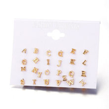 Fashion Punk A-Z 26 Letter Earrings For Women Girls Kids New Brincos Gold Color Word Stud Set Handmade DIY Jewelry