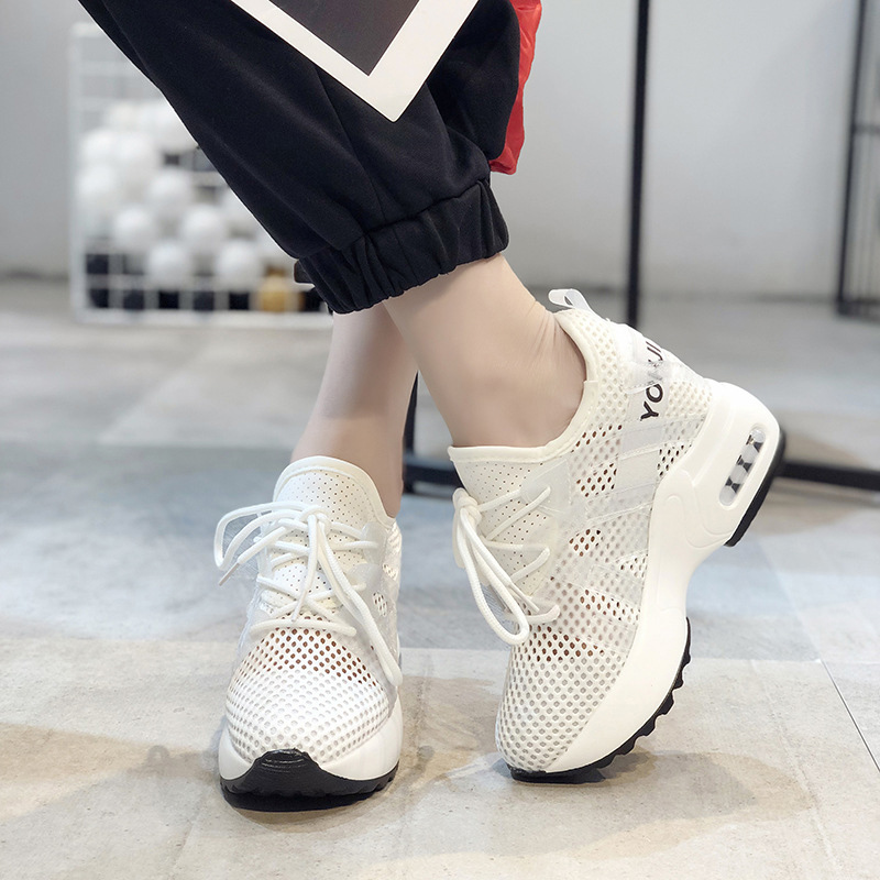 Women Platform Sneakers Breathable Mesh Black White Sneakers For Woman Summer Shoes 2019 Casual High Heels Female Sneaker Shoes