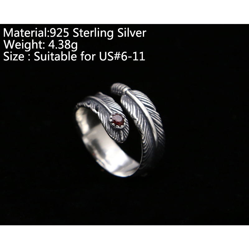 100 Pure 925 Sterling Silver Jewelry Feathers Jewelry Opening Ring For Unisex Birthday Gift 156 in Rings from Jewelry Accessories