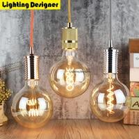 G125 led edison lamp spiraal dimbare licht amber retro spaarlamp vintage filament bubble bal e27 led licht 4 W 110 V 220 V