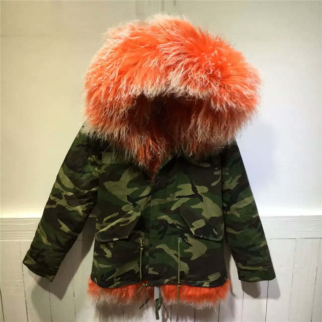 Thick warm winter women coats Mongolia Sheep Fur camouflage parka wool Mr Mrs orange with white lamb fur jacket
