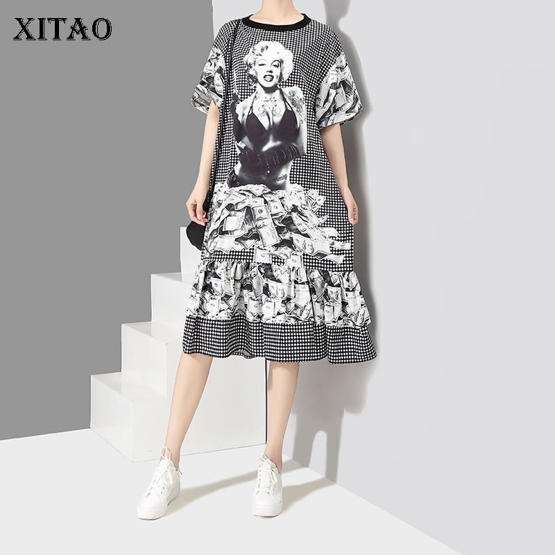 [XITAO] 2018 New Europe Summer Fashion Women Character Print Knee-Length Dress Female Short Sleeve O-Neck Pullover Dress CYW016