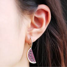 New Purple Zircon Fruit Watermelon Cuff Earring Pure 925 Sterling Silver Zircon Charm Asymmetry Earring AMOUR Wedding Jewelry(China)