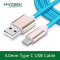 MyGeek 4.0mm Nylon Type c Cable usb type-c cables for xiaomi mi5 Oneplus LG Nexus 5x huawei samsung letv usb type c wire