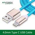 Mygeek 4.0mm nylon tipo c cable tipo-c usb cables para xiaomi mi5 oneplus lg nexus 5x huawei samsung letv usb tipo c alambre