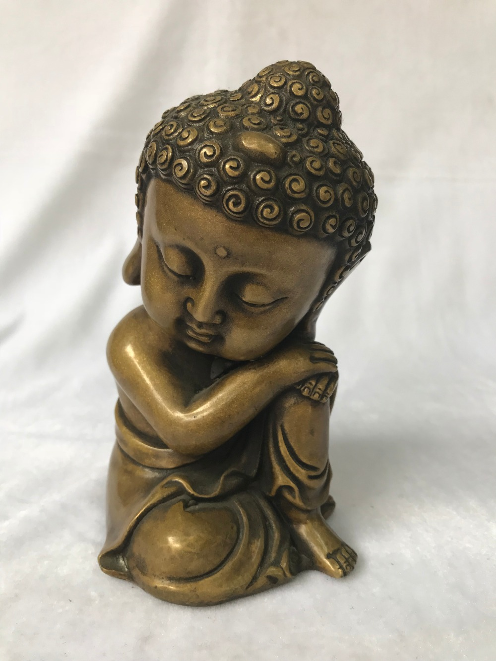 Chinese Copper Statue Handwork Carved Meditation Buddha Statue