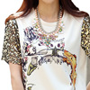 Print T Shirt Women 2017 Summer T Shirt Female Sequins Short Sleeve Punk Novelty Tshirt Women