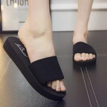 2017 Summer Fashion Womens Slides Black Non-slip Outside Flats Women Shoes High Qualtiy Slippers