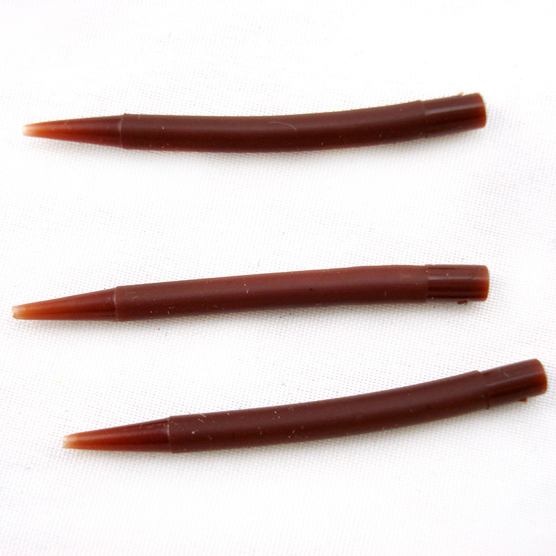10pcs carp fishing accessories safety lead clips&rubber tail cones brown color Line Aligne Hook Sleeves hair rig Lake Fishing