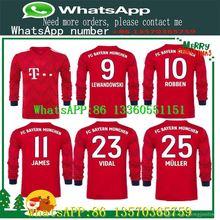 80aad262ad3 Long sleeve Bayern Munich home Soccer SHIRT 18 19  11 JAMES red Soccer Shirt  2019  9 LEWANDOWSKI  6 THIAGO football uniform 3XL