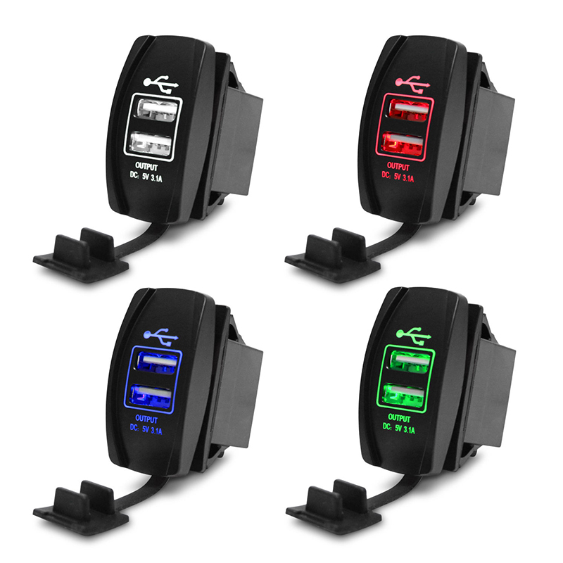 12V Dual USB Socket <font><b>Car</b></font> <font><b>Charger</b></font> <font><b>Power</b></font> <font><b>Adapter</b></font> 3.1A 5V Output With 4 Color LED Light For All Phone USB <font><b>Car</b></font> <font><b>Charger</b></font> NEW image