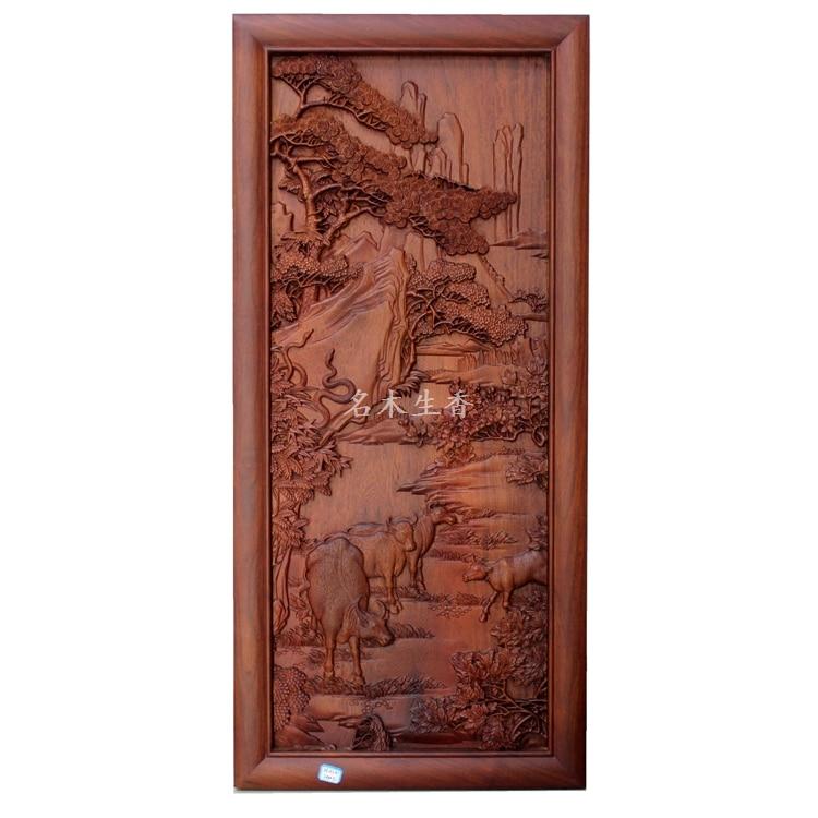 купить Dongyang wood carving plaque hanging boutique cross screen pendant Chinese classical background of Burma pear cattle по цене 157074.23 рублей