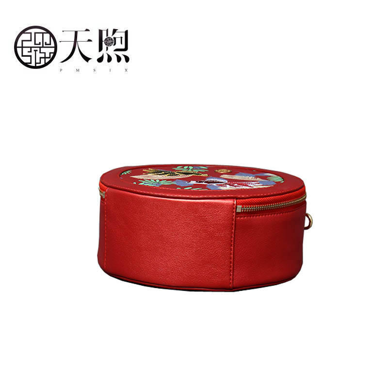 Pmsix 2020 New Women Pu Leather bag quality handbags Fashion embroidery Round bag Luxury tote small women handbags leather bag - 5