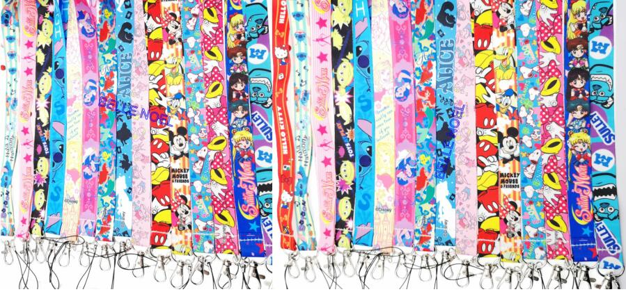 50Pcs popular Mickey Minnie princess stitch Neck Straps Lanyards ID Card Key Condole belt Mixed
