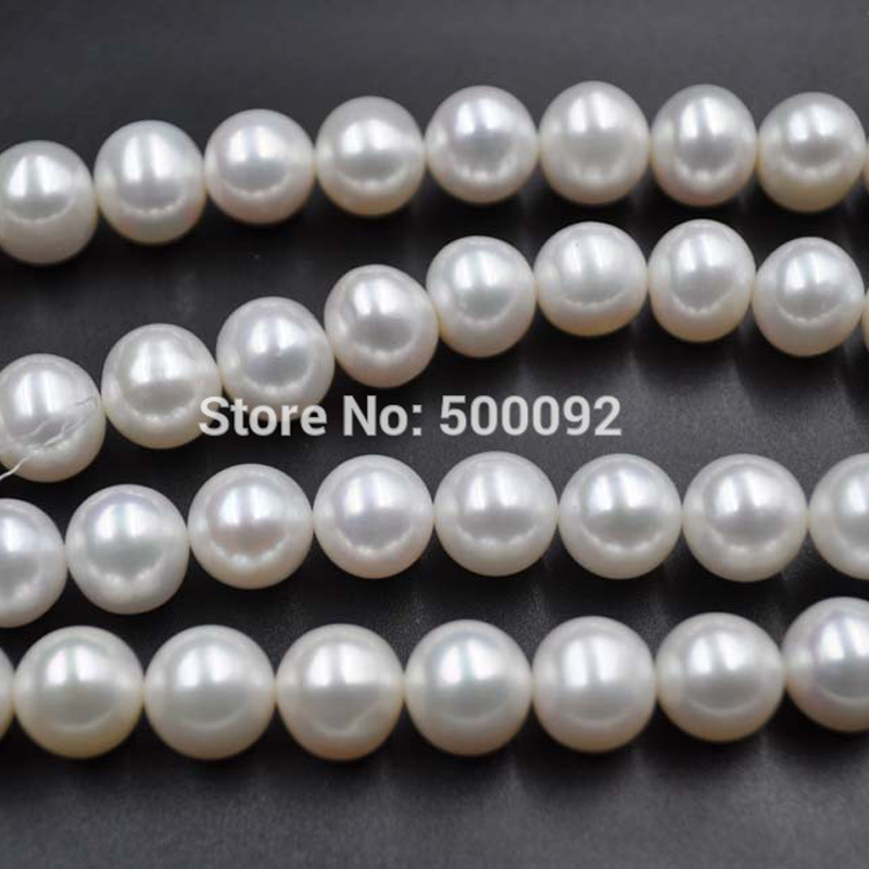 fine big wholesale 10-11mm round white freshwater pearl strands free shipping цена 2017