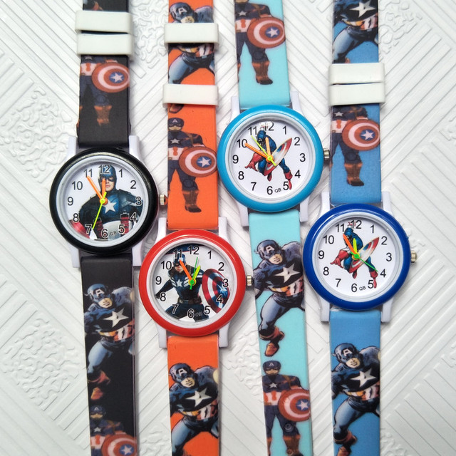 2018 new 1pcs 4D kids acrylic leather watches children cartoon Captain America w