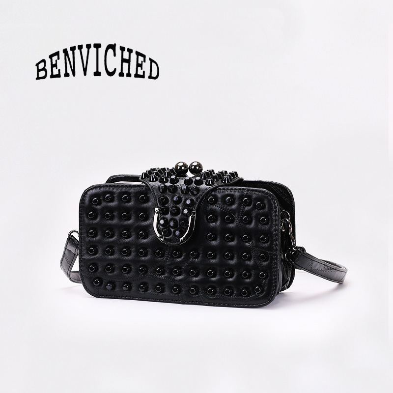 BENVICHED 2019 new womens small square bags spring and autumn fashion ladies rivet black Single Shoulder Bag c149BENVICHED 2019 new womens small square bags spring and autumn fashion ladies rivet black Single Shoulder Bag c149