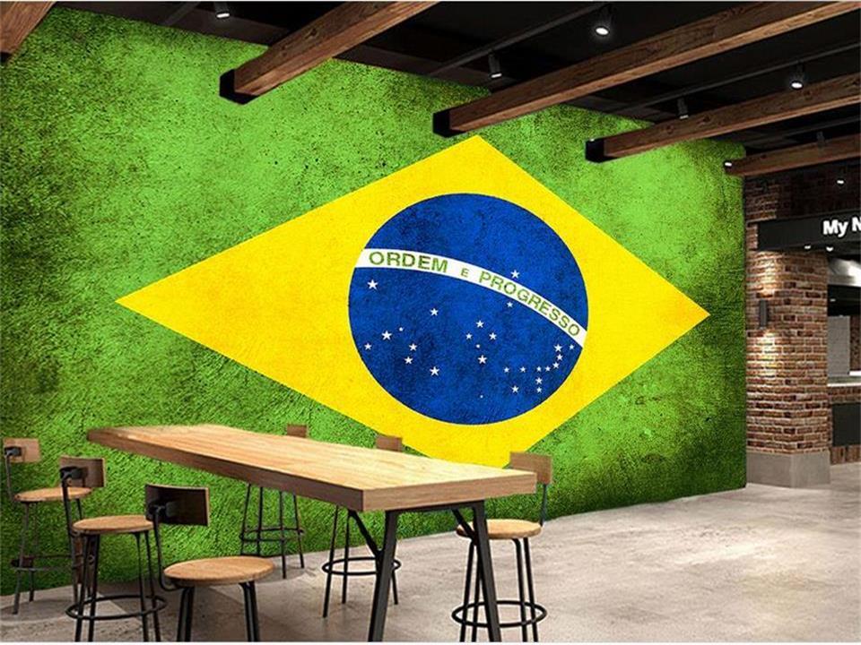 3d wallpaper photo wallpaper custom mural living room graffiti Brazil flag painting football club bar TV background wall sticker free shipping european football club football star messi portrait wallpaper mural
