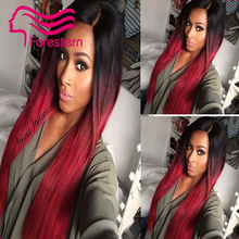 Straight Ombre Two Tone Human Hair Wigs 1B#TBUG# Human Hair Wigs For Black Woman Ombre Full Lace Wig Lace Front  Wig