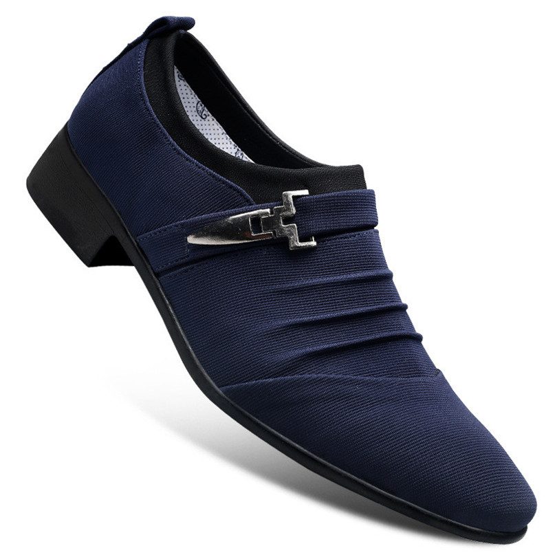 Купить с кэшбэком LIN KING Fashion Pointed Toe Casual Shoes For Men Slip On Lazy Loafers Shoes Breathable Office Work Shoes For Male Big Size 48