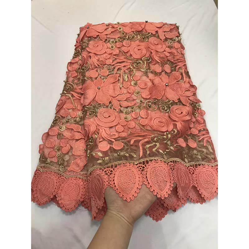 Peach Color High Quality African Lace Fabric With Beaded For Wedding 2018 French Embroidered Mesh Lace