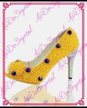 Aidocrystal NEUE PRODUKT mode sommer schuhe handgefertigte gelbe perle damen sexy high heels schuhe frau