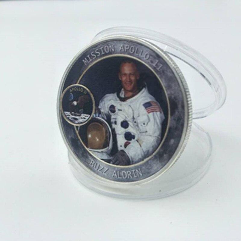 100 piezas de la misión Apolo 11 Moneda de Neil Michael Buzz astronauta héroe plateado 40 mm sonda Lunar proyecto Luna decoración de la moneda-in Monedas no convertibles from Hogar y Mascotas    3