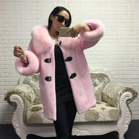 high quality 100% real fox fur collar pockets pink black long wool woolen jacket 2016 new autumn winter coat women