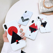 Phone Case For iPhone 7 8 6 6S Plus X XR XS MAX Soft Silicone Print Geometric Pattern TPU Shell Marble Back Cover Cases Coque цена и фото