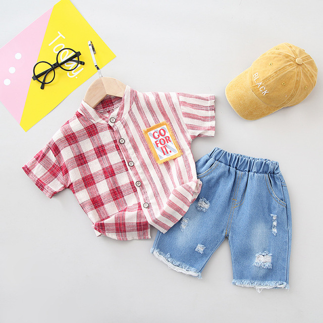 2019 Summer Baby Boy Clothing Sets Fashion Casual Baby Suits Newborn Infant Boys Clothes Set Shirts+Denim Jeans 2pcs Kids Outfit