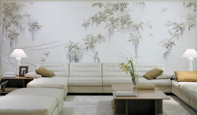 Hand Painted Silk Wallpaper Painting Chinese Wisteria Wallcovering TV Sofa