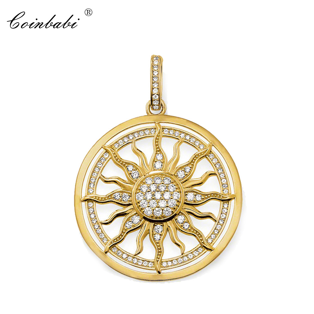 Pendant Sun Pure Gold Color White Zirconia Size 3.5cm For Women Classic Gift Thomas Style Glam Jewelry Pendant Fit Ts Necklace