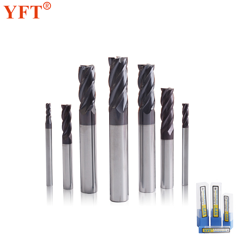 YFT Milling Cutter 1-20mm Router Bit 4-Flute Tungsten Steel Carbide End Mills HRC45 For Wood Metal CNC Machine Tools Accessories high grade carbide alloy 1 2 shank 2 1 4 dia bottom cleaning router bit woodworking milling cutter for mdf wood 55mm mayitr