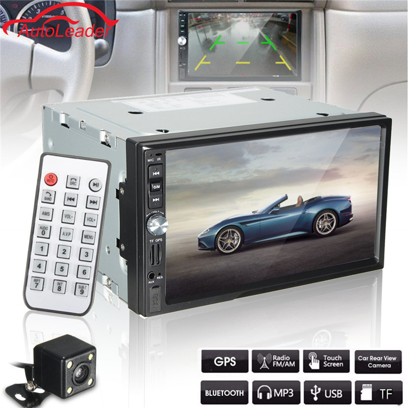 7 HD Touch Screen Car MP5 Bluetooth Player GPS Navigation FM/AUX-IN/USB/SD 2 Din In Dash Audio Video Player With Camera in dash car gps mp5 player with 7 hd 2 din touch screen bluetooth steering wheel control support tf usb aux fm radio 7021g