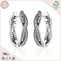 Hot Sale Newest  Arrival Not Plated Vintage 100% 925 Sterling Silver  Semi Circle CZ Paving Stud Earring