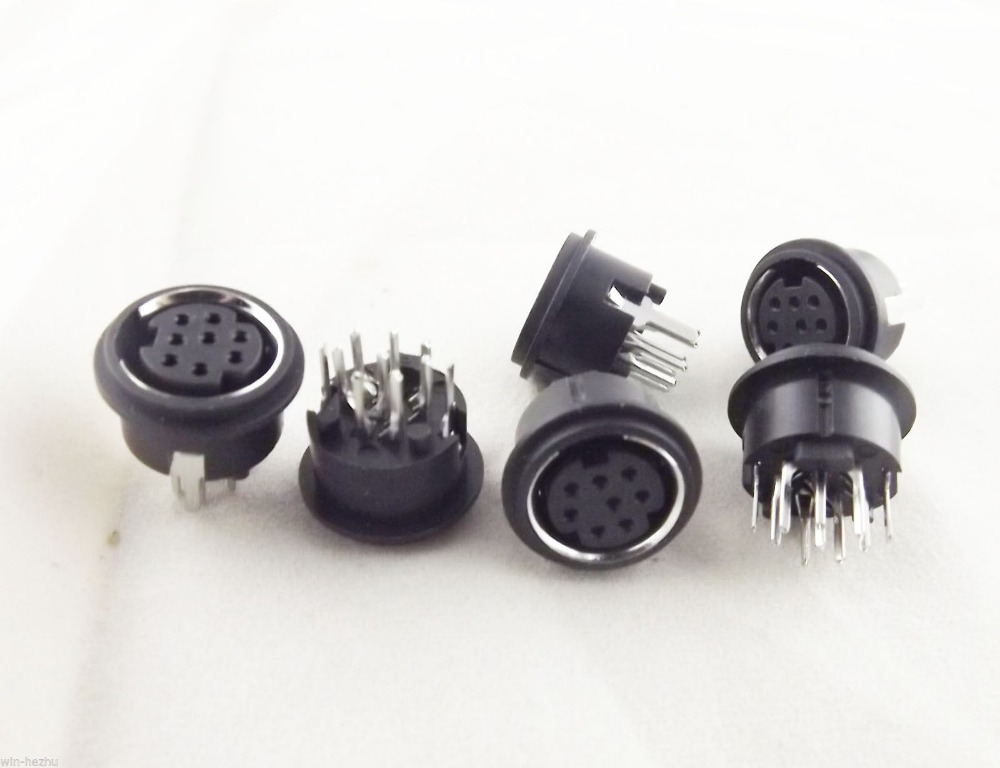 10pcs <font><b>Mini</b></font> 8 Pin <font><b>DIN</b></font> Jack Circular PCB Mount Female Connector image