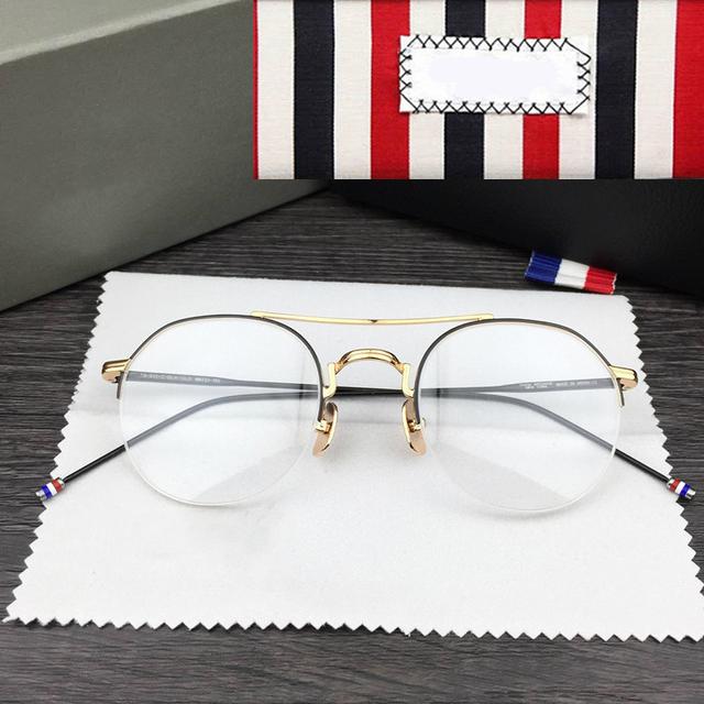 Unisex Ronda Retro Gafas Gafas Graduadas Gafas Miopía Marco Hombres Mujeres Semi Borde de Oro Delgado Clear Lentes de Anteojos