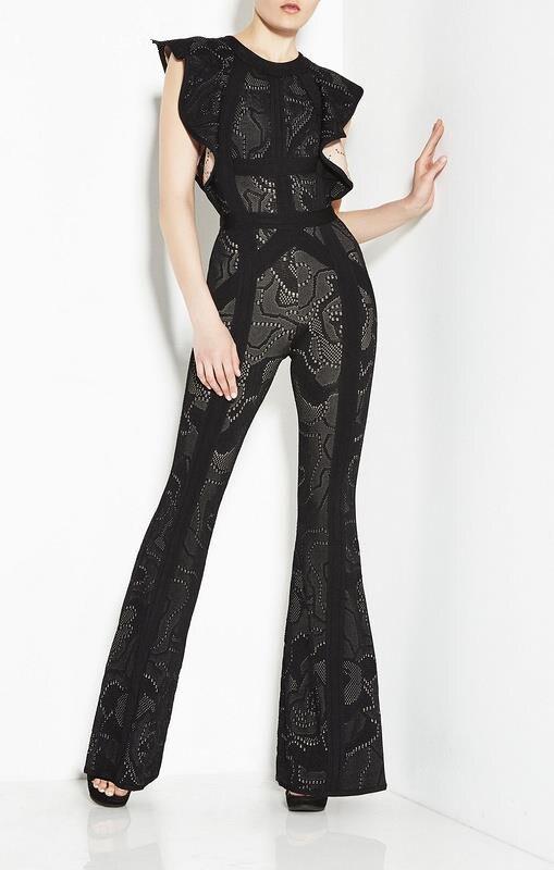 Shining Beauty 2017 high fashion sexy Black Beige round neck Women Jaquard Sexy Slim Bandage Jumpsuits Hot Sale wholesale