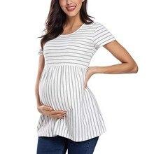Женская блузка для беременных, топы в полоску с принтом, Повседневная Удобная полосатая рубашка с коротким рукавом, одежда Zwangerschap, рубашка@ 35