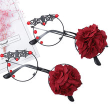 Handmade Bat Rose Glasses Frame Eyeglasses Dark Retro Steam Punk Gothic Eyewear Women Clear Vintage Round Glass Oculos De Gafas(China)
