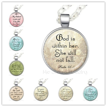 God Is Within Her, She Will Not Fall Glass Choker Necklace Gift For Student Friends Motivating People Famous Aphorism image